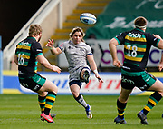 Sale Sharks scrum-half Faf De Klerk puts up a kick during a Gallagher Premiership Round 13 Rugby Union match, Saturday, Mar. 13, 2021, in Northampton, United Kingdom. (Steve Flynn/Image of Sport)