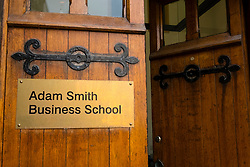 Detail of entry to Adam Smith Business School at University of Glasgow, Scotland, United Kingdom