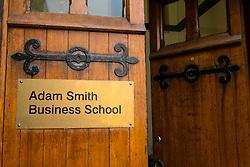 Detail of entry to Adam Smith Business School at University of Glasgow, Scotland, United Kingdom