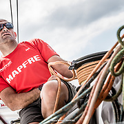 © María Muiña I MAPFRE: Xabi Fernández entrenando a bordo del MAPFRE. Xabi Fernández training on board MAPFRE.