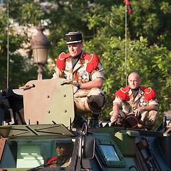Parking de VAB de l'armée de terre sur le rond point de l'étoile à l'occasion des célébrations de la fête nationale.<br /> 14 juillet 2013, Paris (75)
