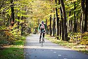 Bij Woudenberg geniet een wielrenner van het mooie herfstweer.<br /> <br /> Near Woudenberg a cyclist enjoys the nice autumn weather.