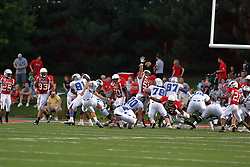20 September 2008: Eric Brunner gets a hand up but can't block the point after kick by Panther Tyler Wilke during Illinois State Redbirds home opener lose to the #20 ranked Eastern Illinois Panthers at Hancock Stadium on the campus of Illinois State University in Normal Illinois. Final score was 25-21.