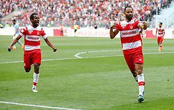 BEN AROUS, TUNIS - MAY 13: Saber Khalifa of Club Africain celebrates after scoring a goal during the Tunisian Cup final match  between Etoile Sahel and Club Africain  at Rades Stadium in Ben Arous, Tunisia on May 13, 2018. Nacer Talel / Anadolu Agency    BRAA20180513_876 Ben Arous Tunisie Tunisia