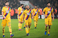 Crystal Palace defender Damien Delaney (27), Crystal Palace midfielder Andros Townsend (10), Crystal Palace defender James Tomkins (5) during the Premier League match between Bournemouth and Crystal Palace at the Vitality Stadium, Bournemouth, England on 31 January 2017. Photo by Sebastian Frej.