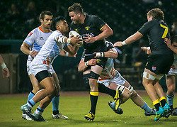 January 11, 2019 - Sugar Land, TX, U.S. - SUGAR LAND, TX - JANUARY 11:  Houston SaberCats lock Matt Trouville (5) gets tackled by Austin Elite center Sione Fangaiuha (13) during the pre-season exhibition rugby match between the Austin Elite and Houston SaberCats on January 11, 2019 at Constellation Field in Sugar Land, Texas.  (Photo by Leslie Plaza Johnson/Icon Sportswire) (Credit Image: © Leslie Plaza Johnson/Icon SMI via ZUMA Press)