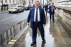 London, UK. 9th April 2019. Mark Francois MP, Deputy Chairman of the European Research Group (ERG), arrives to speak at a 'No Delay, No Capitulation – NO DEAL' rally in Westminster organised by the pro-Brexit Bruges Group. Andrew Bridgen, Conservative MP for North West Leicestershire, and Anne Marie Morris, Conservative MP for Newton Abbot, also spoke at the event.