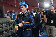 Comedian Stephen Colbert, host of Late Night dressed in costume during the filming of a skit on the floor of the Democratic National Convention July 24, 2016 in Philadelphia, Pennsylvania. Colbert appeared dressed as Caesar Flickerman from the Hunger Games and continues the act from last weeks Republican Convention.