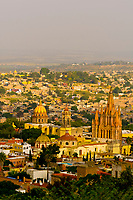 Cityscape of the center of San Miguel de Allende (Las Monjas Church on left and Church of St. Michael the Archangel on right), Mexico