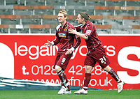Photo: Paul Greenwood.<br />Burnley FC v Cardiff City. Coca Cola Championship. 09/04/2007.<br />Burnley's Dave Jones (L) and Paul McVeigh celebrate the opening goal.