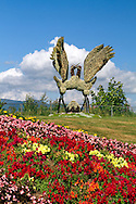 The Crane Eco-Sculptures in the gardens at Burnaby Mountain Park in Burnaby, British Columbia, Canada