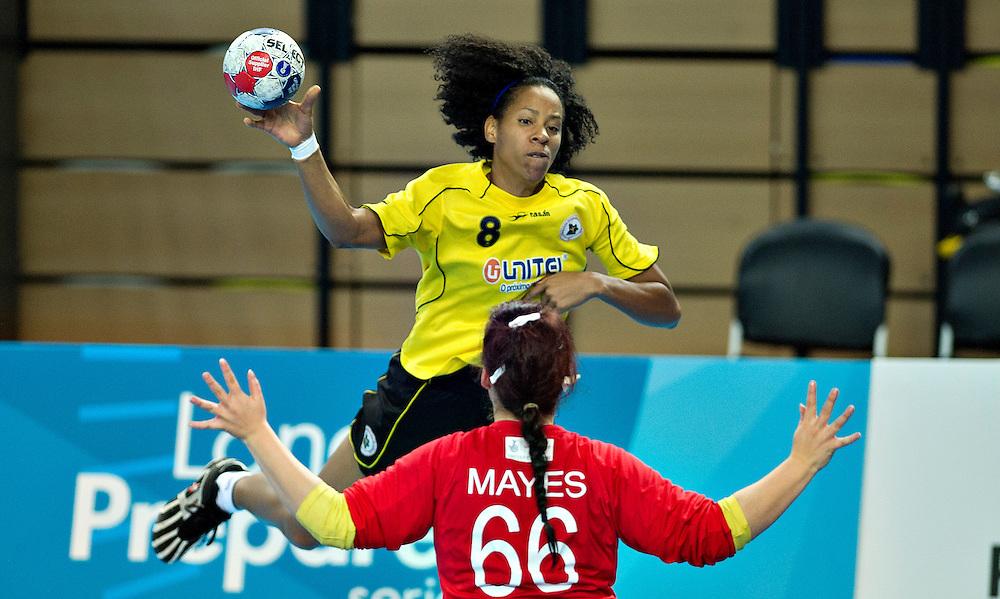 London Handball Cup - Great Bitain vs Angola -   Almeida Neir Felipe (ANG), Jane Mayes (GB)