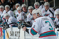 KELOWNA, CANADA - JANUARY 19: Riley Stadel #3 of Kelowna Rockets drops the gloves against the Prince George Cougars on January 19, 2016 at Prospera Place in Kelowna, British Columbia, Canada.  (Photo by Marissa Baecker/Shoot the Breeze)  *** Local Caption *** Riley Stadel;