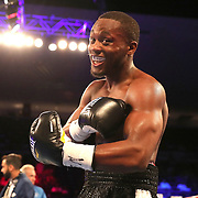 NEW ORLEANS, LA - JULY 14:  Charles Conwell celebrates after beating Travis Scott during the Regis Prograis v Juan Jose Velasco ESPN boxing match at the UNO Lakefront Arena on July 14, 2018 in New Orleans, Louisiana.  (Photo by Alex Menendez/Getty Images) *** Local Caption *** Charles Conwell; Travis Scott