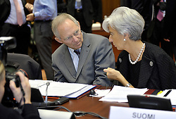 Wolfgang Schaeuble, Germany's finance minister, left, speaks with Christine Lagarde, France's finance minister, during ECOFIN, the meeting of EU finance ministers, at the European Council headquarters in Brussels, Belgium, on Tuesday, Nov. 10, 2009. (Photo © Jock Fistick)