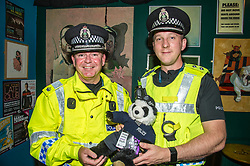 Pictured: Superintendent Jamie Frame and Inspector David Robertson get to grips with Amanda the Panda<br /> Superintendent Lesley Clark discussed key safety messages being promoted during the operation over the period of the Edinburgh Festival, and unveiled this year's Operation Summer City mascot<br /> Ger Harley | EEm 2 August  2017