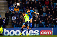 Cardiff City forward Bobby Reid (14) and Gillingham FC midfielder Callum Reilly (13) during the The FA Cup 3rd round match between Gillingham and Cardiff City at the MEMS Priestfield Stadium, Gillingham, England on 5 January 2019. Photo by Martin Cole.