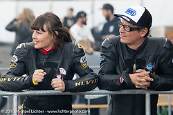 Racers Chatokhine Lolo Laurence and Sebastien Lorentz at the 1/8 mile sprint races during the Intermot International Motorcycle Fair. Cologne, Germany. Saturday October 6, 2018. Photography ©2018 Michael Lichter.