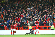 Goalscorer Nottingham Forest midfielder Barry McKay (10) is applauded by the crowd during the EFL Sky Bet Championship match between Nottingham Forest and Burton Albion at the City Ground, Nottingham, England on 21 October 2017. Photo by John Potts.