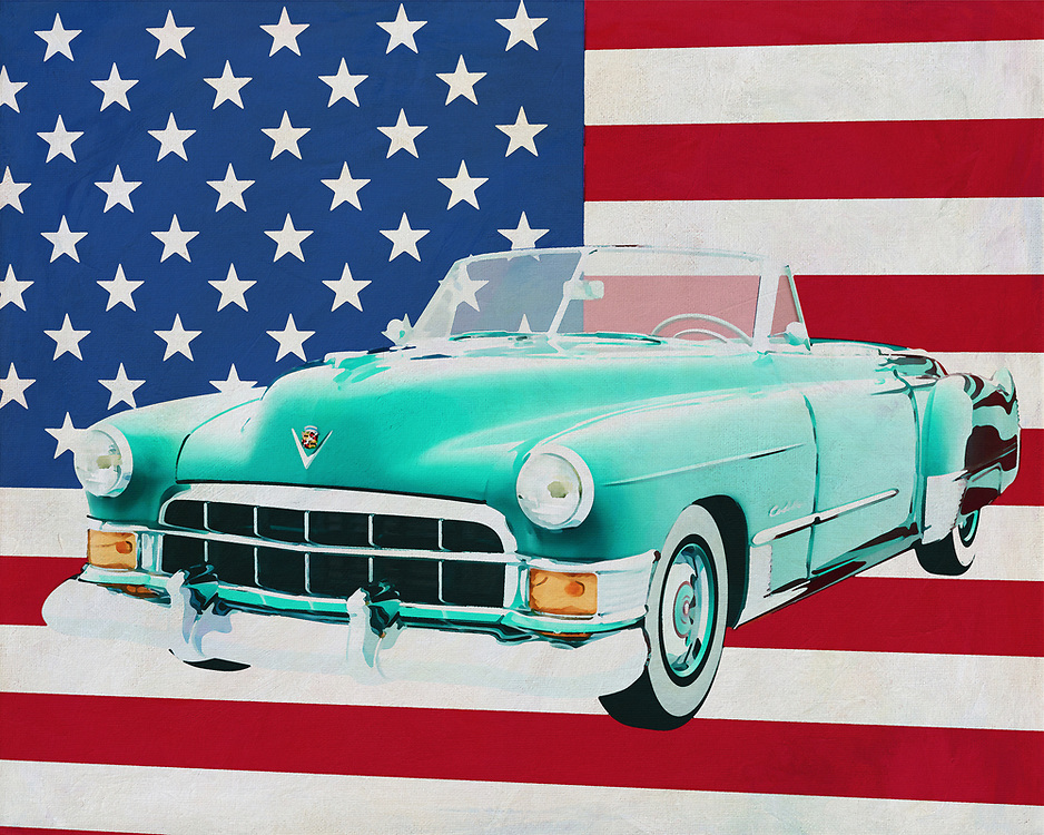 The 1948 Cadillac Deville is pure luxury for hours of pleasant cruising on the long roads of the American continent. A powerful engine, excellent suspension and an interior that exudes quality in every detail you know: this is class. Cadillac has established its name with this model, the Cadillac Deville.<br /> <br /> This painting of the Cadillac Deville from 1948 in front of the American flag can be purchased in various sizes and printed on canvas as well as wood and metal. You can also have the painting finished with an acrylic plate over it which gives more depth. -<br /> -<br /> BUY THIS PRINT AT<br /> <br /> FINE ART AMERICA<br /> ENGLISH<br /> https://janke.pixels.com/featured/cadillac-deville-convertible-1948-with-flag-of-the-usa-jan-keteleer.html<br /> <br /> <br /> WADM / OH MY PRINTS<br /> DUTCH / FRENCH / GERMAN<br /> https://www.werkaandemuur.nl/nl/shopwerk/Cadillac-Deville-Convertible-1948-met-vlag-van-de-V-S-/664476/132?mediumId=1
