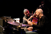 """Henri Texier and Aldo Romano during a Romano/Sclavis/Texier Trio performance. """"Jazz ao Centro"""" jazz festival is held twice a year in portuguese town of Coimbra."""