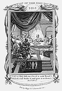 Jesus and his discipes at the Last Supper. 'Bible' Mark 15.22. Copperplate engraving c1804.