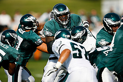 Philadelphia Eagles Tackle King Dunlap #65 during the Philadelphia Eagles NFL training camp in Bethlehem, Pennsylvania at Lehigh University on Saturday August 8th 2009. (Photo by Brian Garfinkel)