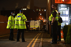 © Licensed to London News Pictures. 28/02/2021. Salford , UK. Police and the Royal Logistical Corps bomb squad respond to a suspicious device found in a car on Park Place earlier this afternoon . Photo credit: Joel Goodman/LNP