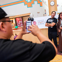 050413       Cable Hoover<br /> <br /> Darrick Franklin, right, and Rodrique Russell, who were both auditioning for multiple parts, pose for pictures together during the Navajo language Star Wars auditions at the Navajo Nation Museum in Window Rock Saturday.