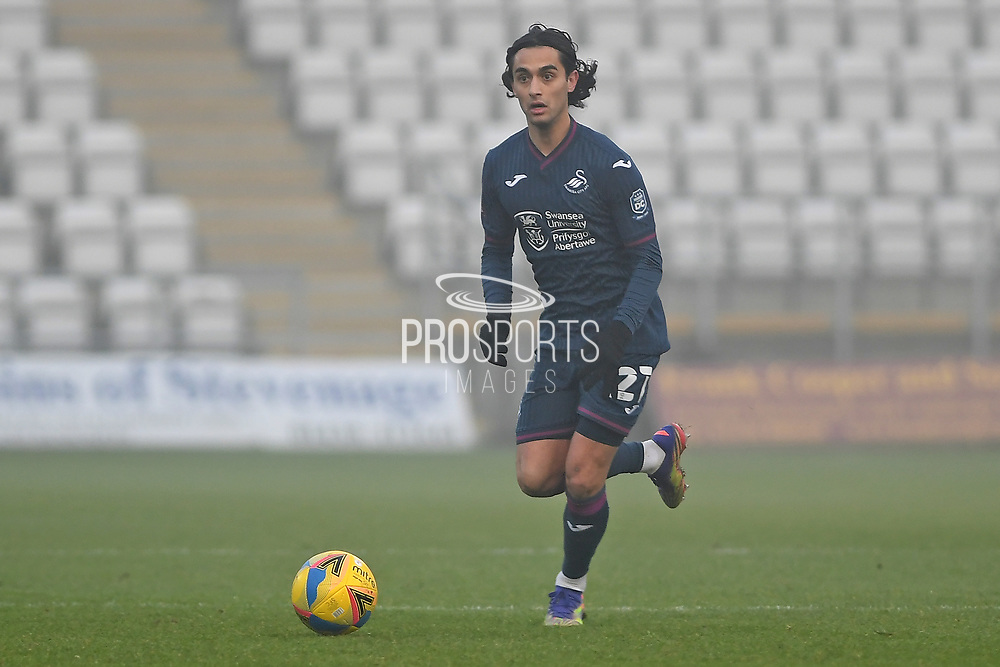 Swansea City midfielder Yan Dhanda(21) during the FA Cup match between Stevenage and Swansea City at the Lamex Stadium, Stevenage, England on 9 January 2021.
