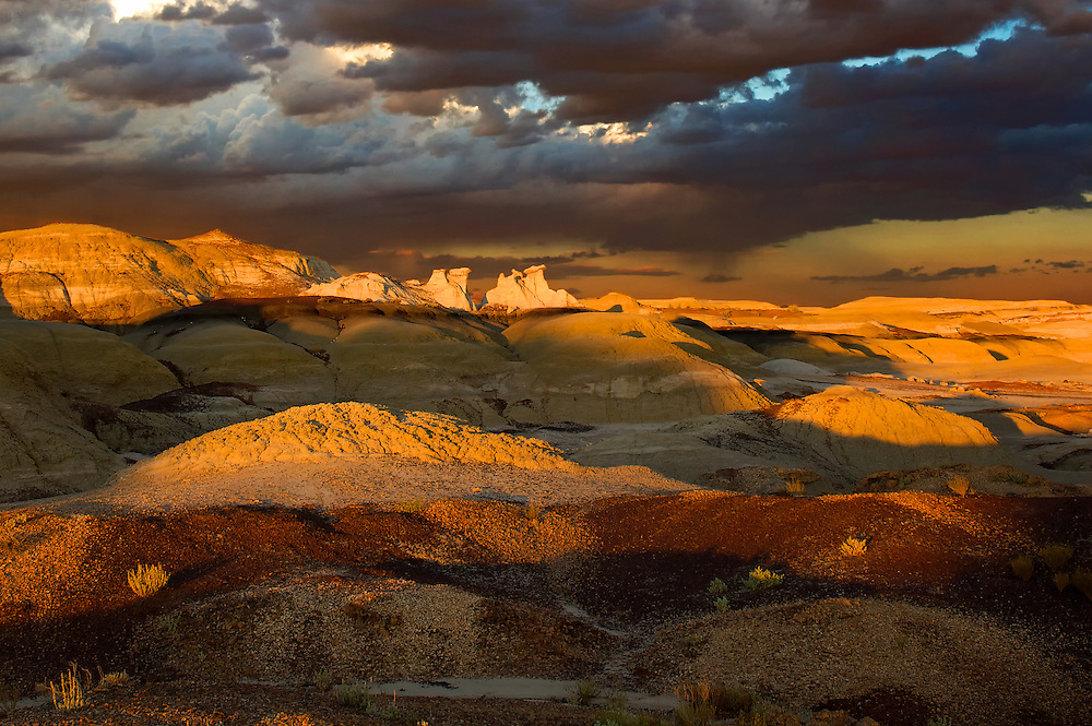 The desolate and remote Bisti Badlands in Northwest New Mexico showcase the area's awesome color and light.