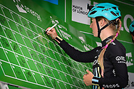 Alice Barnes (GBR) riding for Drops signs-on during the OVO Energy Women's Tour, London Stage, at Regent Street, London, United Kingdom on 11 June 2017. Photo by Martin Cole.