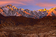 Alabama Hills and the Sierra Nevada range at sunrise
