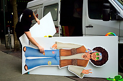 Cardboard cutout off a cartoon hippie figure leftover of a Flower Power themed display to promote the Philadelphia Flower Show is removed as it served its purpose, in Center City Philadelphia, PA, on March 11, 2019.