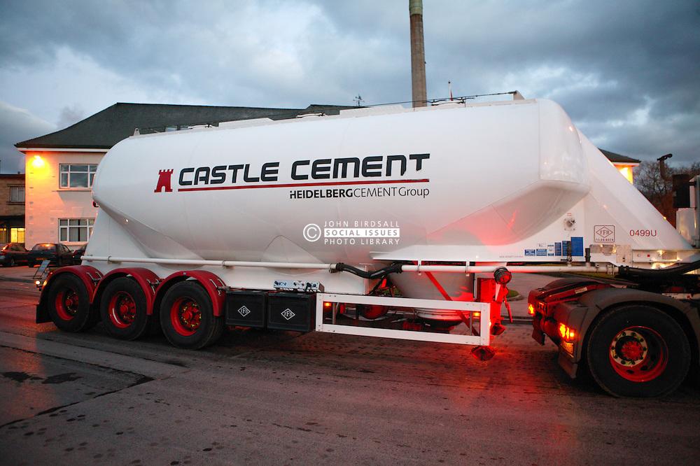 Lorry leaving the Castle Cement factory; Clitheroe; Lancashire,