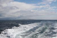 Backwash from freey leaving the Aran Islands in Galway Ireland