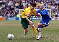 Photo: Paul Thomas.<br /> Stockport County v Hartlepool United. Coca Cola League 2. 17/03/2007.<br /> <br /> James Brown (L) of Hartlepool gets away from Michael Rose.