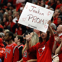 16 April 2011: A fan shows a sign during the Chicago Bulls 104-99 victory over the Indiana Pacers, during the game 1 of the Eastern Conference first round at the United Center, Chicago, Illinois, USA.