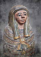 Ancient Egyptian Cartonnage funerary mask from the Third Intermediate Period, 22nd Dynasty (944-1025BC).  Egyptian Museum, Turin. white background<br /> Made from overlapping papyrus and cloth this cartonnage has been decorated with a weskh collar over which are depicted two crossed cloth strips that represent the last bandages of the deceased mummy wrappings. below this is depicted the rams head of god Amon-Ra against the out stretched wings of a vulture .<br /> <br /> Visit our HISTORIC WALL ART PRINT COLLECTIONS for more photo prints https://funkystock.photoshelter.com/gallery-collection/Historic-Antiquities-Photo-Wall-Art-Prints-by-Photographer-Paul-E-Williams/C00002uapXzaCx7Y<br /> <br /> Visit our Museum ART & ANTIQUITIES COLLECTIONS to browse more photo at: https://funkystock.photoshelter.com/p/museum-antiquities