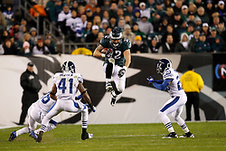 Philadelphia Eagles fullback Owen Schmitt #32 leaps to avoid defenders during the NFL Game between the Indianapolis Colts and the Philadelphia Eagles. The Eagles won 26-24 at Lincoln Financial Field in Philadelphia, Pennsylvania on Sunday November 7th 2010. (Photo By Brian Garfinkel)