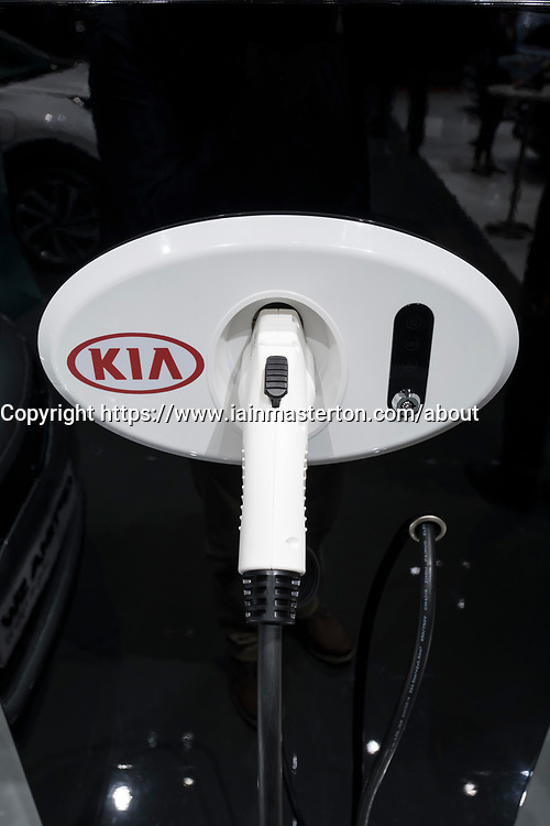 Detail of plug-in electric car charging station by Kia at 87th Geneva International Motor Show in Geneva Switzerland 2017