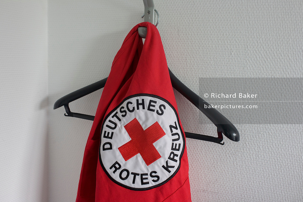 German Red Cross (Deutsches Rotes Kreuz - DRK) vehicle logos at their administrative HQ, 58 Carstennstrasse, Berlin.