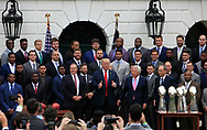 President Donald Trump with the Super Bowl Champions, The New England Patriots on the South Lawn of the White House on April 19,2017<br />Photo by Dennis Brack