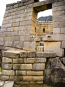 Above the Royal Tomb at the Incan ruins of Machu Picchu, near Aguas Calientes, Peru.