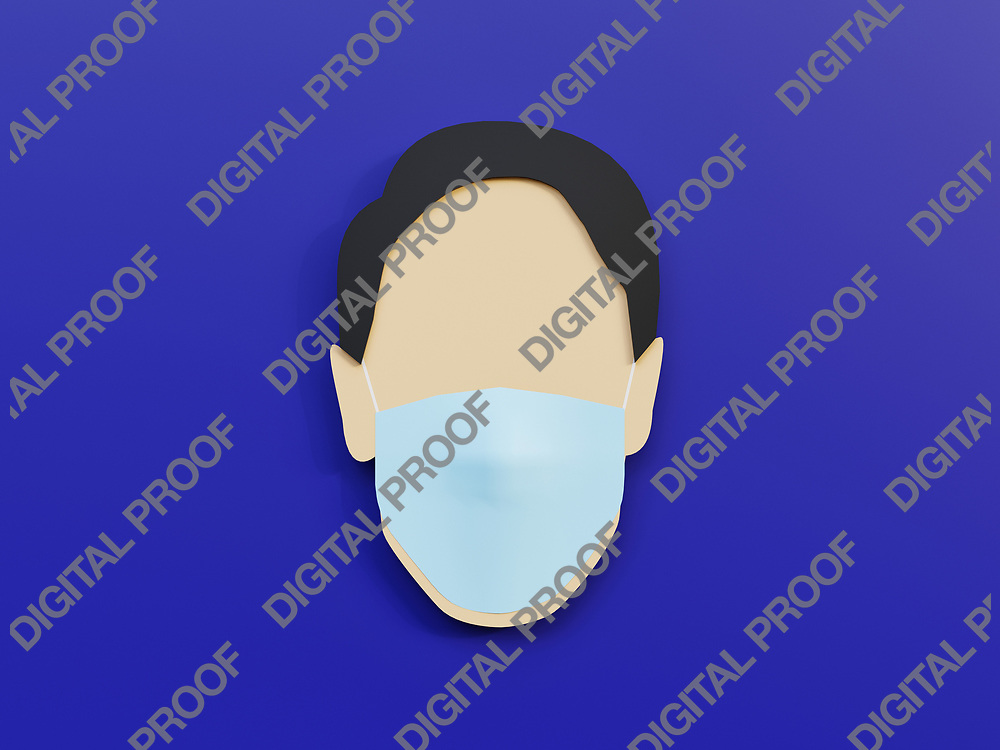 Men wearing medical mask as protection in blue background with minimalist concept - 3D Rendering Concept