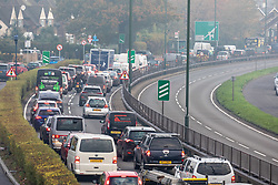 © Licensed to London News Pictures. 06/11/2020. London, UK. Heavy traffic seen on the A3 Kingston By Pass in Roehampton, South West London this morning on the 2nd day of lockdown as the Government urges people to work from home if they can. Prime Minister Boris Johnson announced new Covid-19 lockdown restrictions for England from Thursday with pubs, restaurants, non-essential shops and gyms to close as the coronavirus infection rate continues. Photo credit: Alex Lentati/LNP