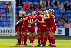 BIRKENHEAD, ENGLAND - Sunday, August 29, 2021: Liverpool's Rachel Furness in the team huddle before the FA Women's Championship game between Liverpool FC Women and London City Lionesses FC at Prenton Park. London City won 1-0. (Pic by Paul Currie/Propaganda)