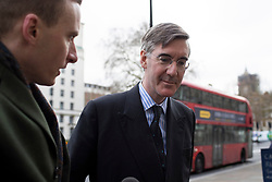 © Licensed to London News Pictures. 02/03/2020. London, UK. Leader of the House of Commons Jacob Rees-Mogg arrives at The Cabinet Office. Photo credit: George Cracknell Wright/LNP