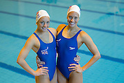 Mcc0037361 . Daily Telegraph..DT Sport..Olympic hopefuls Asha and Jenna Randall, both team members in the British Olympic Synchronised Swimming Team training in Aldershot today. They are now being mentored by Olympic Figure Skating Champion Robin Cousins...Aldershot 9 February 2012.