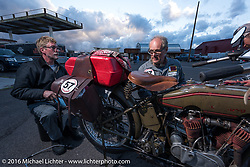 Harry Verkuil of Scotland working on his 1916 Model F class-3 Harley-Davidson with his team in Williams during the Motorcycle Cannonball Race of the Century. Stage-12 ride from Page, AZ to Williams, AZ. USA. Thursday September 22, 2016. Photography ©2016 Michael Lichter.